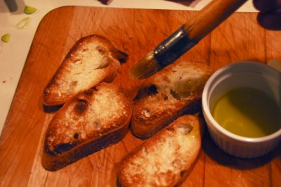 Brush with olive oil