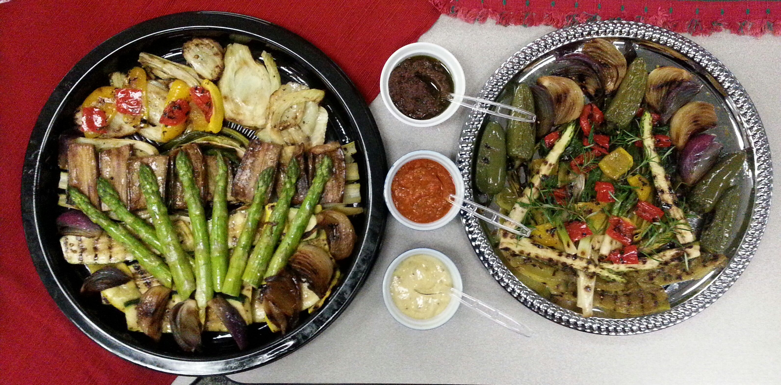 Grilled vegetable platters