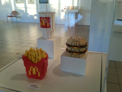 Burger, fries and a shake made of Lego