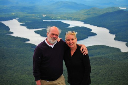 It's always nice when someone volunteers to take a picture of us together. Otherwise, it looks like we each went here alone separately. That's Lake Placid in the distance.