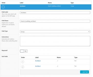 Screen capture of fields